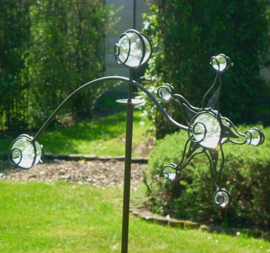 windspiel wippe gartenstecker sonne garten m 8 glaskugeln. Black Bedroom Furniture Sets. Home Design Ideas