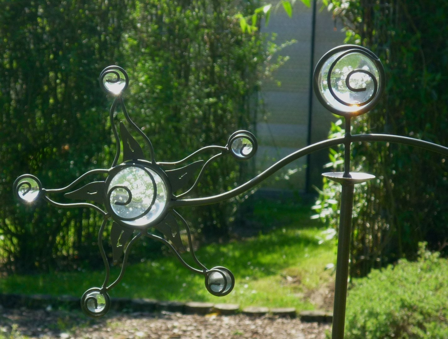 Windspiel wippe gartenstecker sonne garten m 8 glaskugeln for Windspiel edelstahl garten