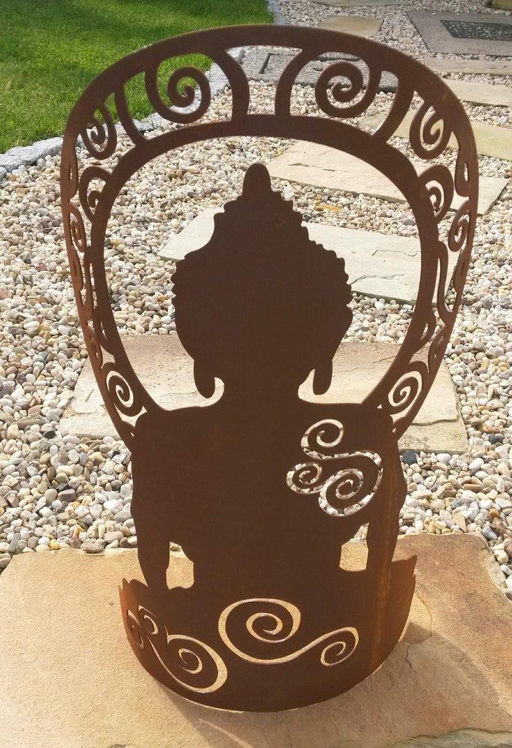 Buddha edelrost figur sitzend metall rost for Gartenskulpturen metall rost