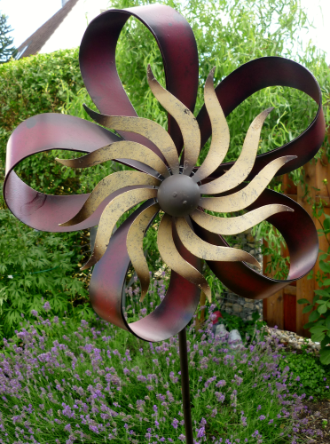 windspiel gartenstecker windrad garten metall blume. Black Bedroom Furniture Sets. Home Design Ideas