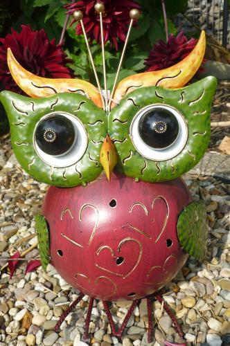 Garten figur freche eule metall bunt deko vogel windlicht - Metall fa r den garten ...