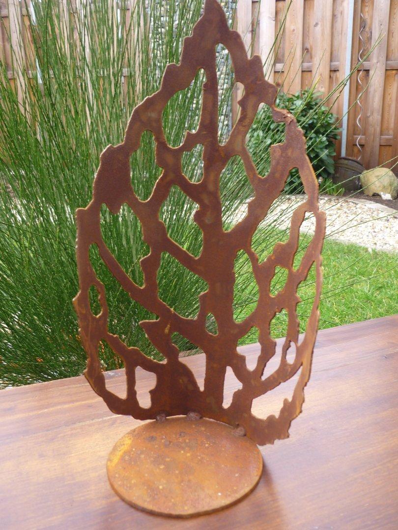 Garten windlicht blatt edelrost design kerzenhalter for Edelrost im garten