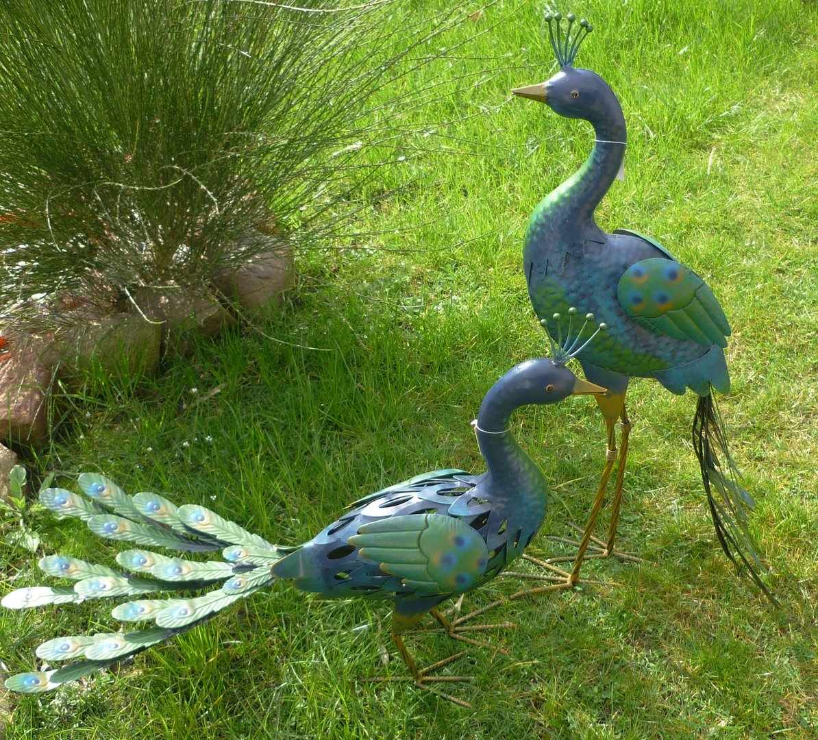 Gartenfigur 2er set pfau metall figur bunt deko vogel for Deko vogel garten