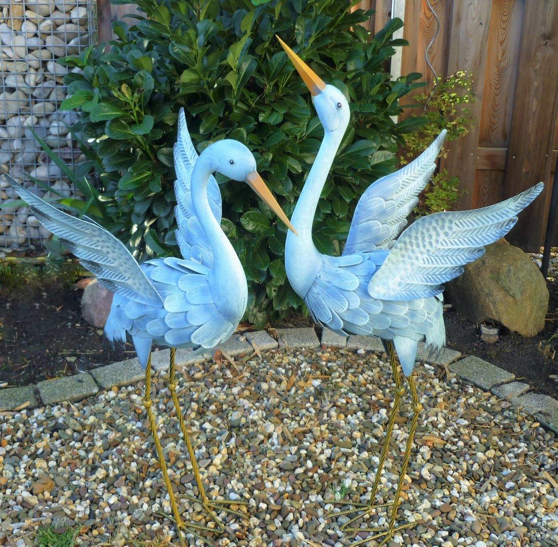Gartenfigur 2er set kranich metall figur bunt deko vogel for Deko shop garten