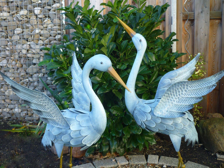 Gartenfigur 2er set kranich metall figur bunt deko vogel for Deko metall garten
