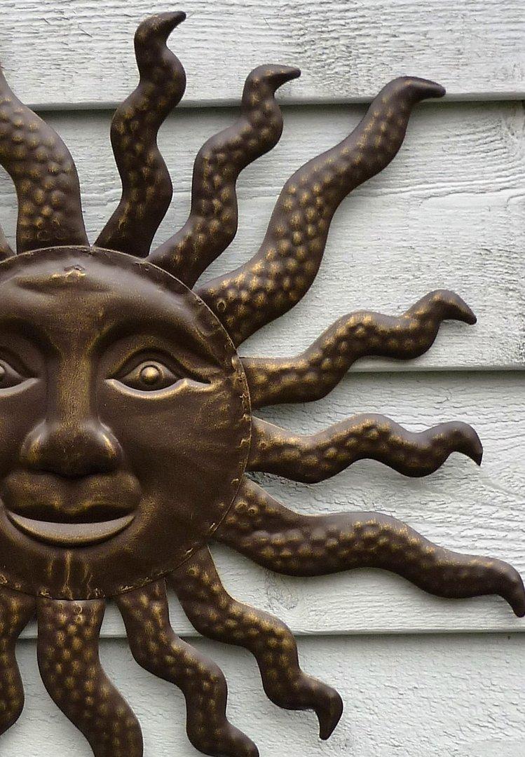 Sonne eisen wanddekoration wandbild d 44cm garten deko gartendekoration metall - Gartendekoration metall ...