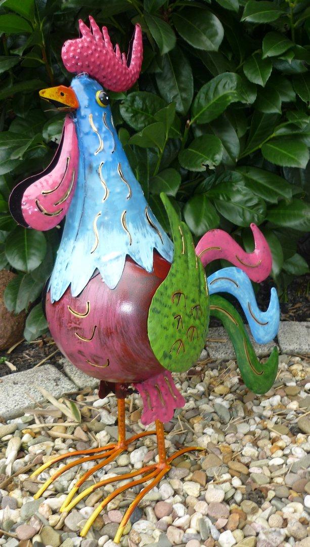 Garten figur hahn metall bunt deko vogel windlicht for Deko vogel garten