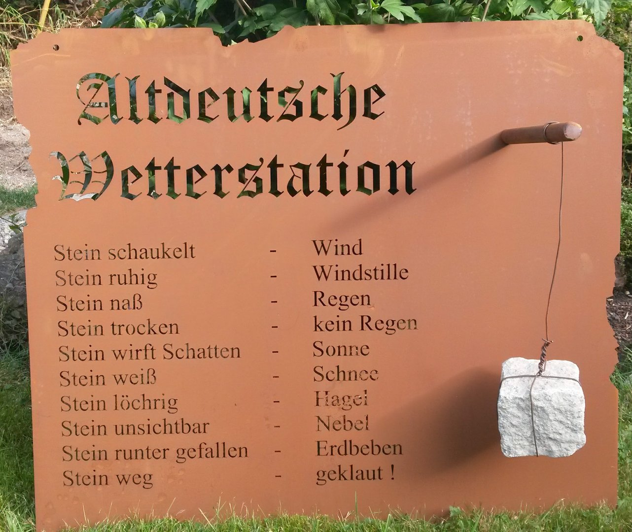 wetterstation garten schild metall rost deko edelrost schild gartendekorationen shop. Black Bedroom Furniture Sets. Home Design Ideas