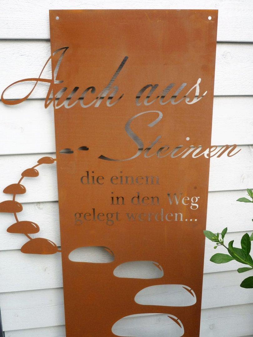 Spruchtafel steiniger weg garten schild metall rost deko for Deko herz rost
