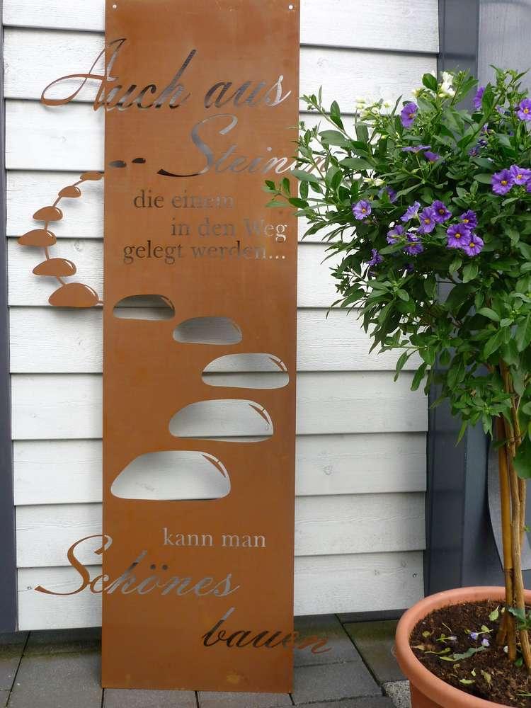 spruchtafel steiniger weg garten schild metall rost deko edelrost, Gartenarbeit ideen