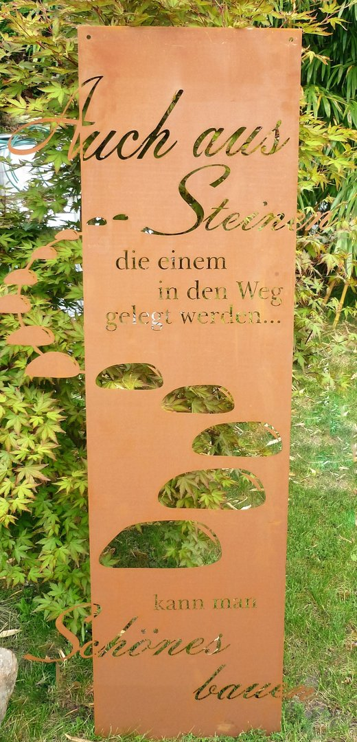 spruchtafel steiniger weg garten schild metall rost deko edelrost gartendekorationen shop. Black Bedroom Furniture Sets. Home Design Ideas