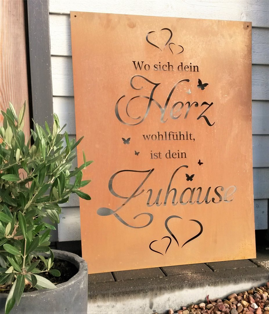 spruch tafel zuhause herz garten schild metall rost deko edelrost schild gartendekorationen shop. Black Bedroom Furniture Sets. Home Design Ideas