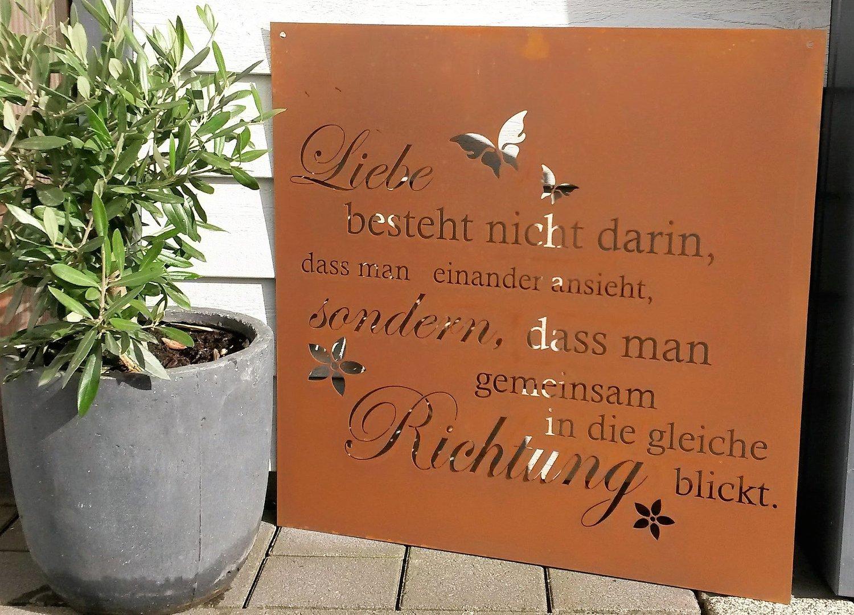 Gedichttafel liebe spruchtafel gartenschild metall deko for Metall deko shop