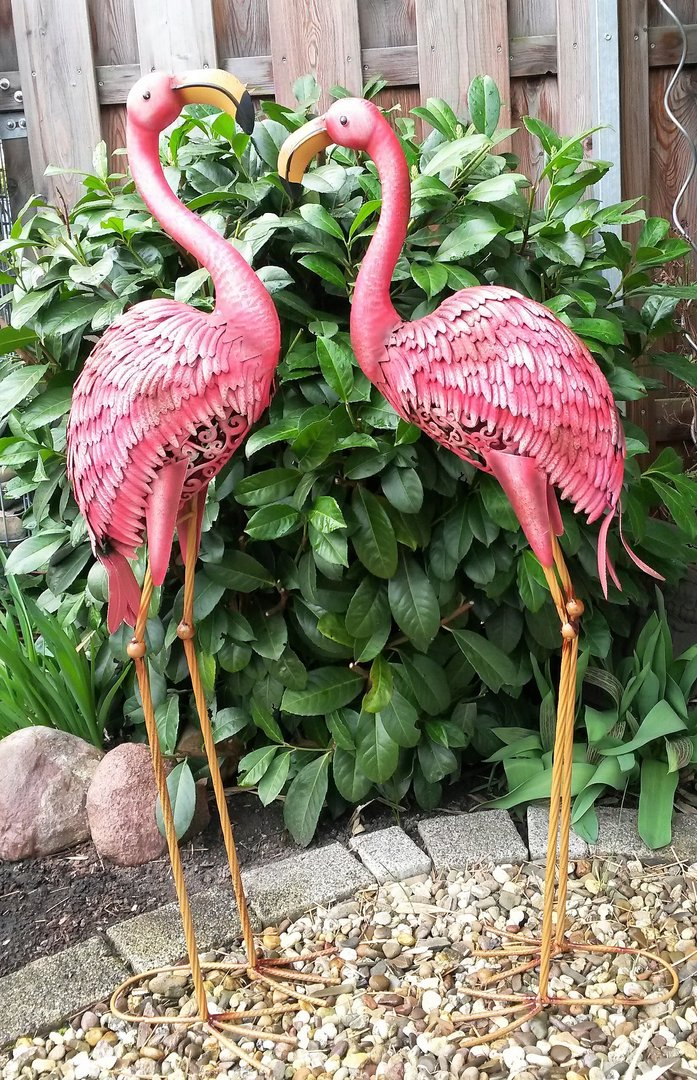 Flamingo 2er set gartenfigur metall figur bunt deko vogel for Haus garten deko shop