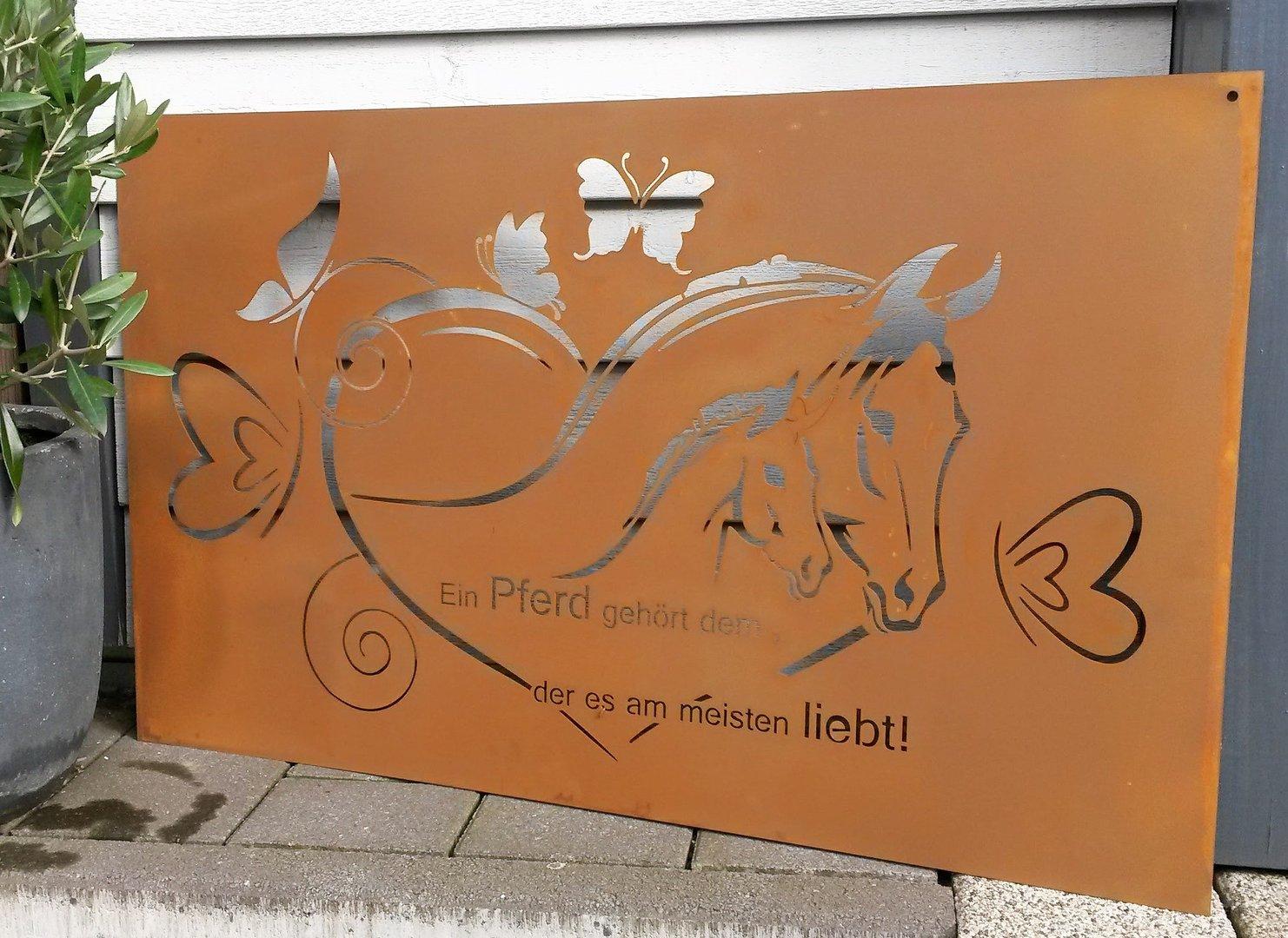Gedichttafel pferde spruchtafel gartenschild metall rost for Rostfiguren garten