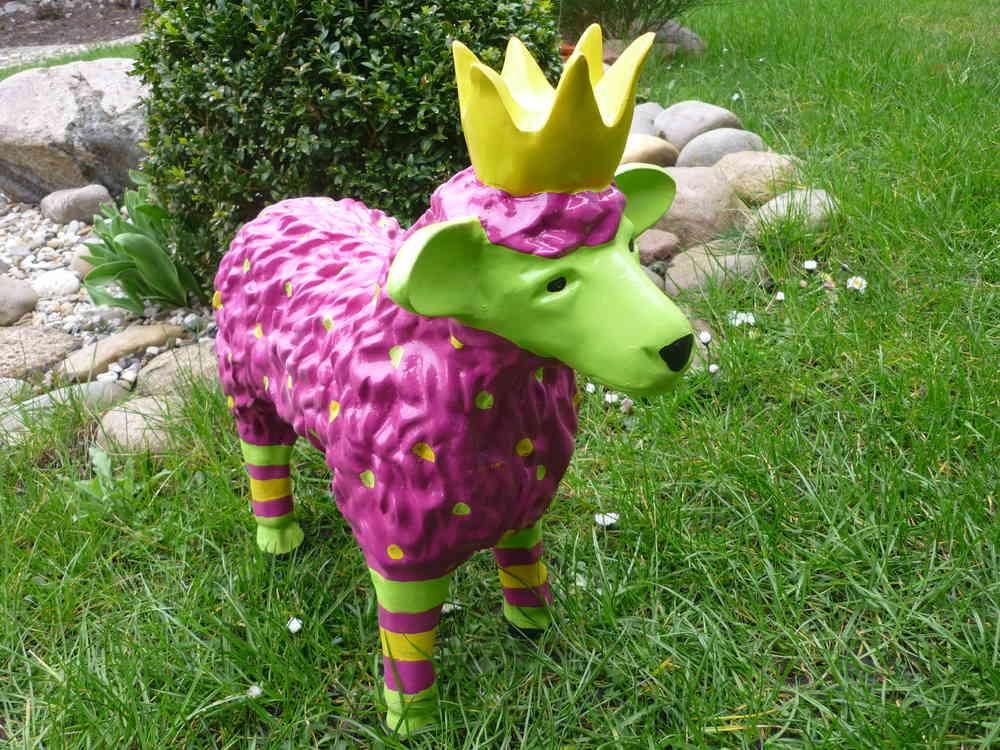 Garten Figur Lustiges Buntes Schaf Lamm M Krone Deko Tier 48cm