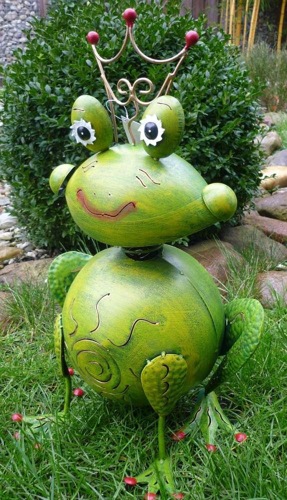 Garten Figur Frosch Froschkönig Metall Deko Windlicht Kerzenhalter