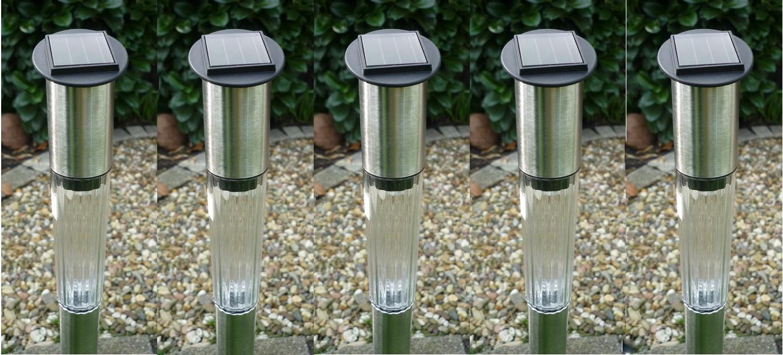 Solar LED 5er-Set Solarleuchte Gartenleuchte Garten Lampe