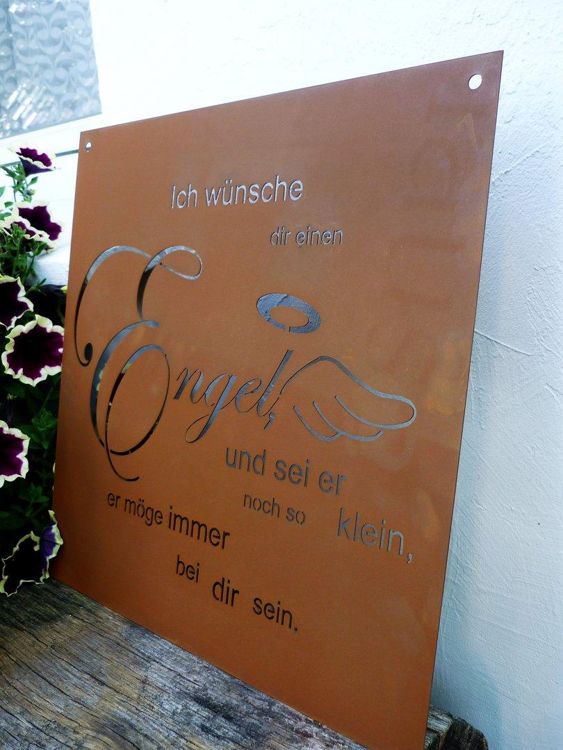 Spruch rost tafel engel garten schild metall deko edelrost for Metall deko shop
