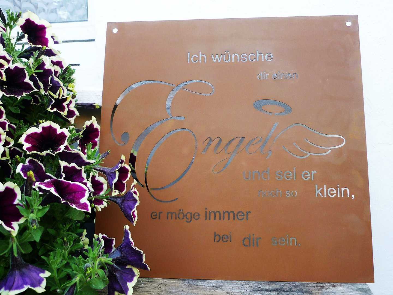 Spruch rost tafel engel garten schild metall deko edelrost for Gartendeko rost gartendekorationen
