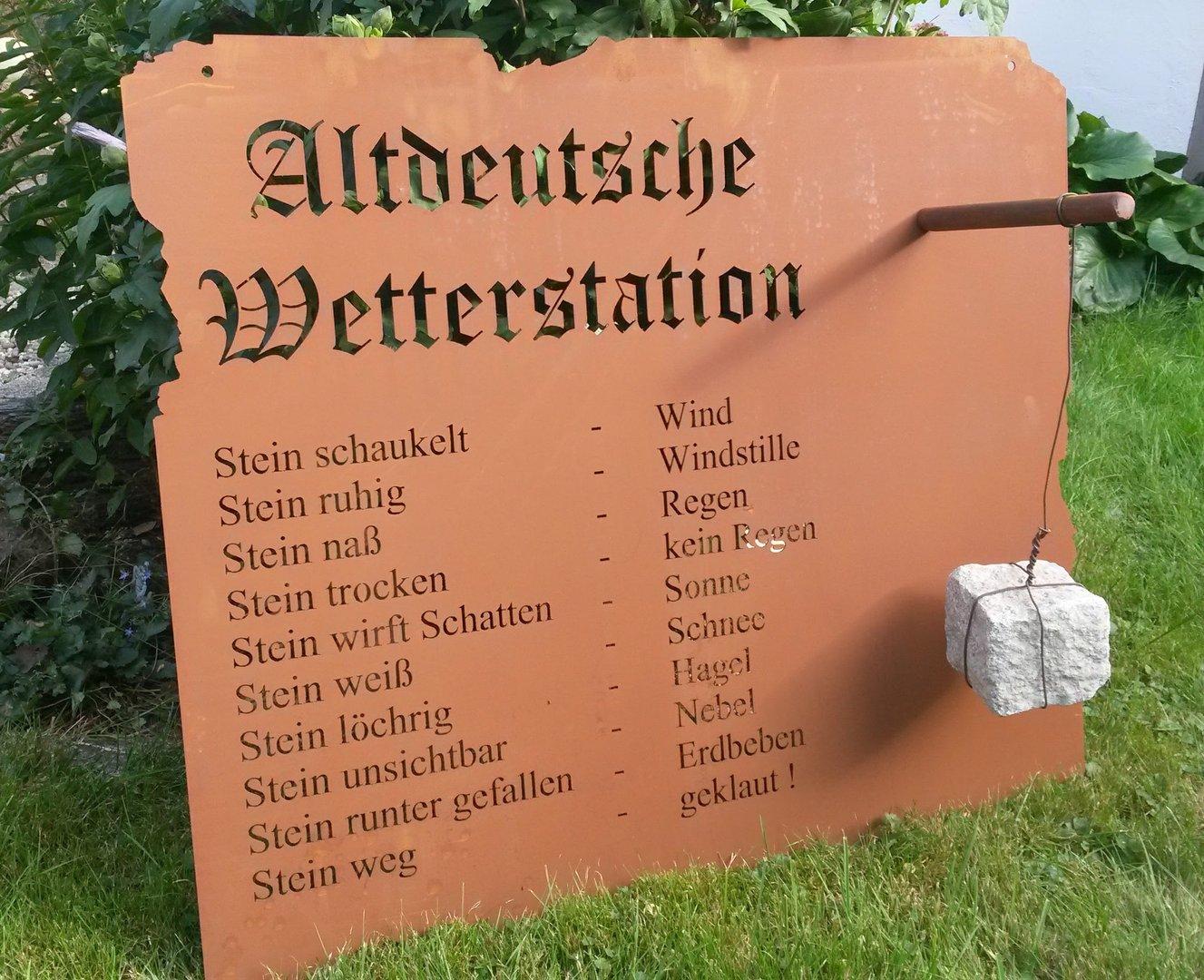 Wetterstation garten schild metall rost deko edelrost for Rost deko garten deutschland
