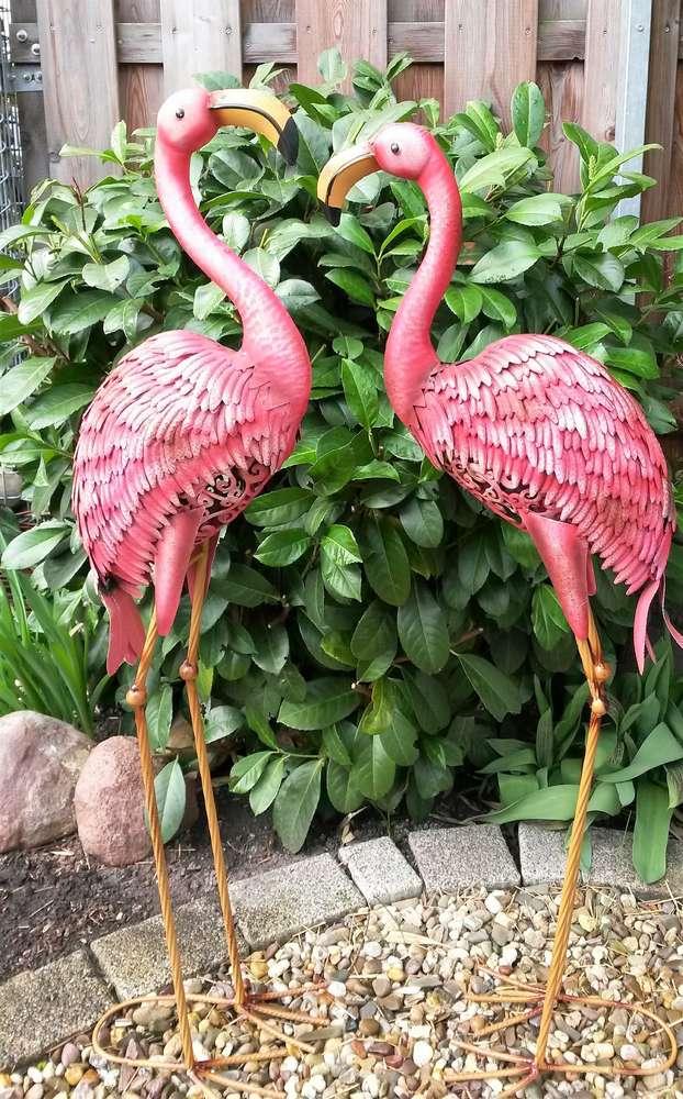 Flamingo 2er Set Gartenfigur Metall Figur Bunt Deko Vogel Garten