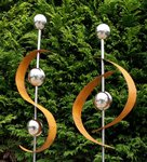 2er Set Edelrost Design Gartenstecker Modern Art 118cm