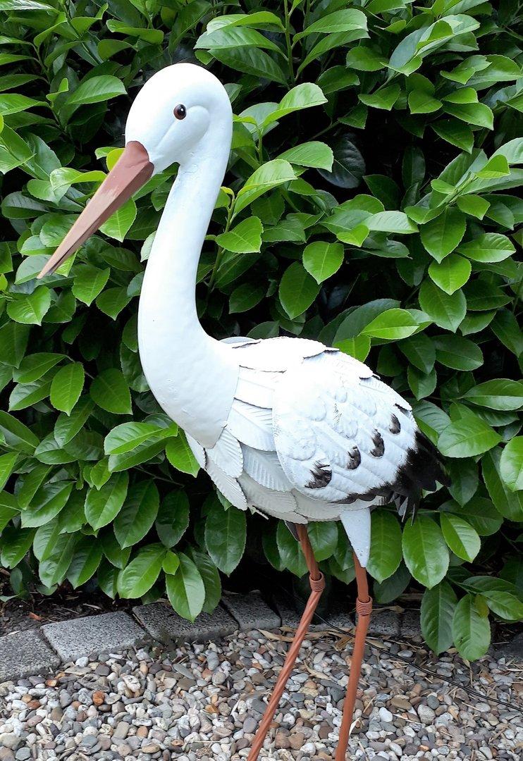 Gartenfigur 2er set storch metall figur bunt vogel garten for Deko vogel garten