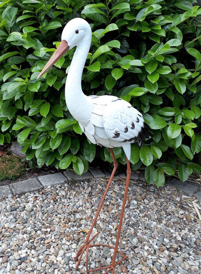 Gartenfigur storch metall figur bunt vogel garten for Metall deko shop